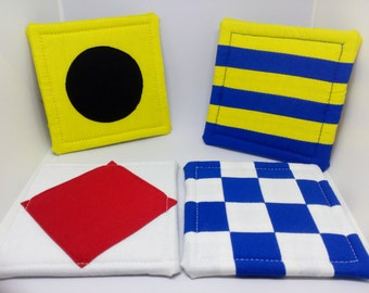 "Nautical Ship Signal Flag Theme Coasters approx 4"" X 4"" Multi-color Fabric Sailing Signs set of 4 cool coasters"