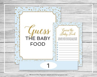 Blue and Gold Baby Shower Guess The Baby Food Game - Printable Baby Shower Guess The Baby Food Game - Blue and Gold Baby Shower - SP146
