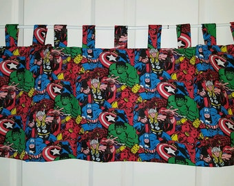 Marvel Super Heros Tab Top Curtain Valance