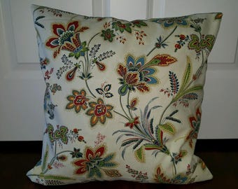 Cream with red and blue country flowers envelope pillow cover throw pillow choose size