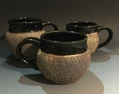 Black and brown crackle mugs