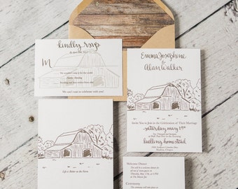 calligraphy old barn wedding invitation suite semi custom farm invitation rsvp card wedding