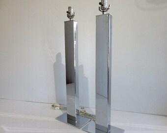 Pair Of Chrome Mid-Century Modern George Kovacs Skyscraper Lamps.