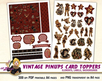 Vintage pinup clipart, nautical clip art, card toppers, printable elements, tattoo clipart, Sailor Jerry clipart, stencil, anchor, roses