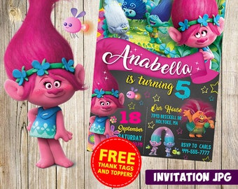Trolls Invitation, Trolls Party, Trolls Birthday Invitation, Girl Trolls Invitation, Boy Trolls Invitation, Trolls Theme Printables