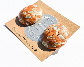 Abstract Modern Orange, Bronze Polymer Clay Earrings, Studs, Stud Earrings Gifts for Her