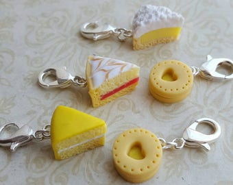 Progress keepers for knitting, crochet and crafts, kitsch food gift, novelty  stitch markers, biscuit and cake  themed knitting  accessory
