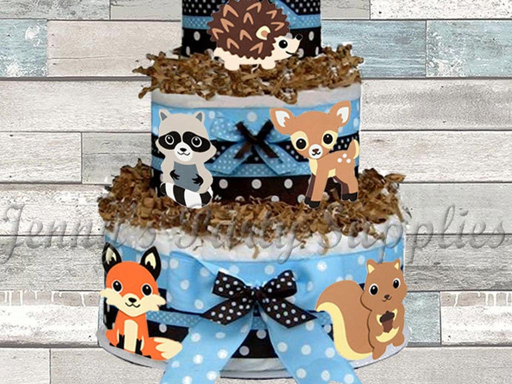 Set of 6 Woodland Animals Baby Shower Diaper Cake Toppers