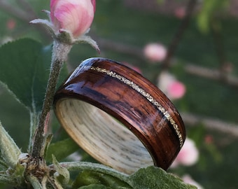 Bentwood Ring - Chechen & Maple w/ Silver German Glass