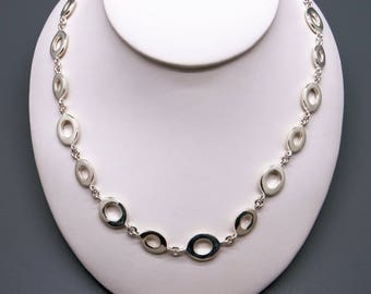 """Handmade Sterling Silver Oval Link Chain Adjustable Necklace 16"""" to 17"""""""