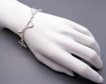 """Handmade Sterling Silver Triangle Tube Link Chain Adjustable Bracelet 7"""" to 9"""""""