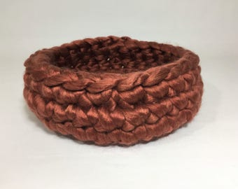 Rich Brown Fiber Finger Crochet Basket/lining Newborn Photo Prop
