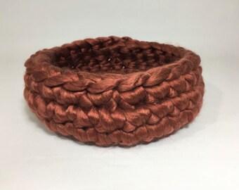 Rich Brown Fiber Finger Crochet Basket/lining Newborn Photo Prop