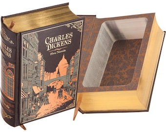 Large Hollow Book Safe - Charles Dickens - Oliver Twist, A Tale of Two Cities (Leather-bound) (Magnetic Closure)