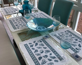 Set of 6  Placemats  with table runner, seashell pattern.