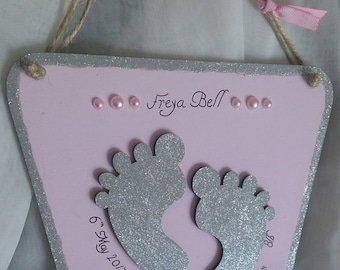 New baby birth announcement hanging plaque