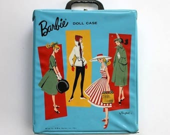 Barbie Doll Case 1961 Vinyl Mattel Ponytail Blue
