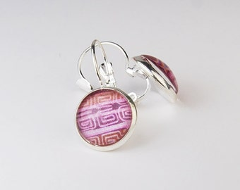 Pink Tribal Striped Round Earrings