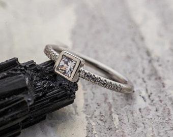 Precious Princess Cut Diamond Engagement Ring set in 14K White Gold, Natural Diamonds Engagement Ring, Gold Engagement Ring, Zehava Jewelry