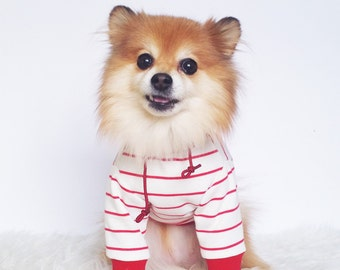 Red stripe Hoodie, XS~4XL, Pull-over Dog hoodie, Cute Dog clothes, dog clothes, gift for dogs and puppies, handmade pet tops, sporty clothes