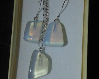 Genuine Opalite Nugget Earrings & Necklace