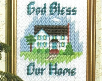 Digital Pattern: God Bless Our Home Decor Wall Hanging 7 Ct Plastic Canvas