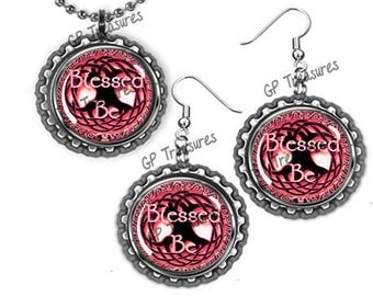 """Blessed Be Red Flat Chrome Earrings and Ball and Chain Bottlecap Necklace 18"""" Set"""