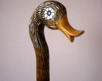 Duck cane, walking stick, hiking, hand carved