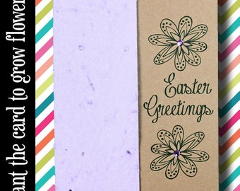 """CUSTOMIZABLE - Grows 13 different Wildflowers - """"Easter Greetings"""" - Plant the Card! - #EA003"""