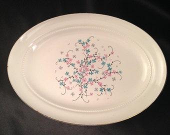 Eastern China N.Y. USA 22K/Vintage Eastern China Pink Blue Floral Design Vegetable Platter/Eastern China EAN32/EAN32 by Eastern China