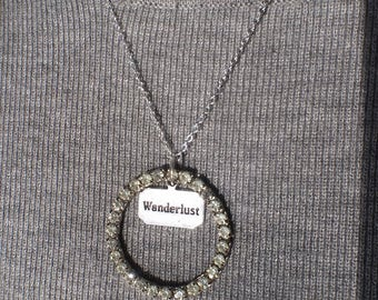 Vintage necklace, rhinestone, upcycle, repurpose, assemblage, OOAK, wanderlust, word, circle, pendant, silver chain,