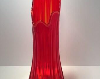 "Vintage red orange swung glass vase 19"" Viking"