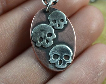 Copper and Sterling Silver Skull Pendant Necklace - Skull Jewelry - Gift for Her - Gift for Him