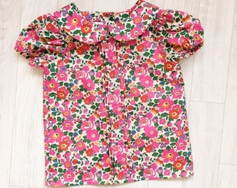 MABEL Handmade Liberty Print SHORT Sleeve PLEATED Blouse with Peter Pan Collar