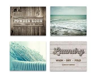 Laundry and powder room decor set of 4 prints, laundry room wall art, powder room decor, mint beige decor, print set of 4, photography set