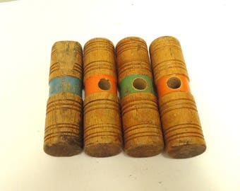 wooden Croquet mallet heads,vintage croquet game outdoor sports replacement parts craft making,lot of 4
