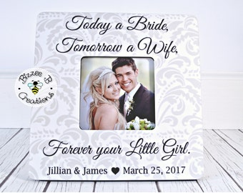 ON SALE Today a Bride Tomorrow a Wife Picture Frame, Parents Gift, Mother of the Bride, Father of the Bride, Parents Gift, Wedding Thank You