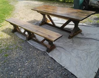 Handmade Farmhouse X Leg Dining Table,Porch or Patio Table, 1 Bench, 98x30x31 1/2 with a bench 98x19 1/2x14,freight shippin