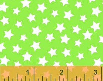 Windham Basics Brights Stars Fabric - Green - sold by the 1/2 yard