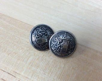 Metal Button Salzburg Crest - Antique Silver 15mm (set of 2)