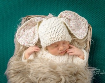 Bunny Baby Hat / Newborn Photo Props / Baby Props / knitted bunny hat/ Baby girl Knit hat / baby photography