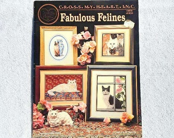 Vintage Fabulous Felines Counted Cross Stitch Kitty Cat Graphed Designs 1993