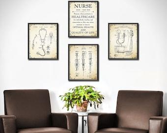 NURSE Graduation Gift - SET of 4 - NURSE Gift - Doctors Office Decor - Gift For Medical Student Gift - Nurse Gifts Decor Wall Art - 1876