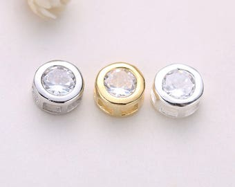 5PCS 925 Sterling Silver Bead Charms,Dot Charm,Gold Beads,Silver Beads,6.5MM Round Bead,Metal Bead,Pendants,Spaced Beads,Jewelry Findings