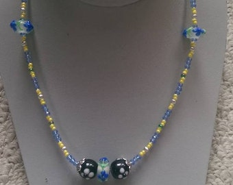 Blue Flowered Lampwork Necklace