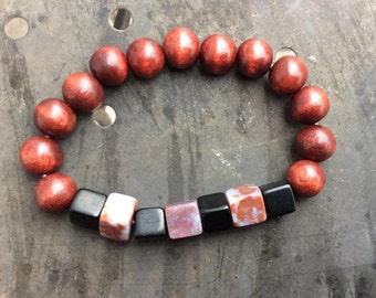 Mens bracelet,wood bracelet,karma bracelet,boho bracelet,gemstone bracelet,beaded bracelet,yoga bracelet,beach bracelet,gifts for him