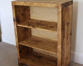 Rustic reclaimed handcrafted solid wooden bookcase/storage unit/display unit in oak wax