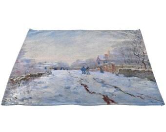 """Claude Monet's """"Snow at Argenteuil, 1875"""" Linen Napkins 20"""" x 20"""", Set"""