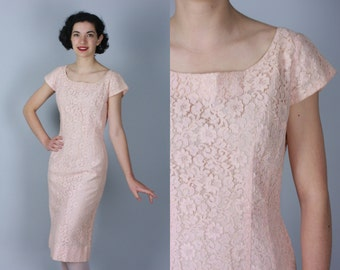Vintage 1950s Dress | 'Emma Domb' Pale Pink Lace Wiggle Dress | Medium