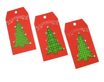 Christmas Tree Gift Tags Set of 6 (2 of each) , Christmas Gift Tag